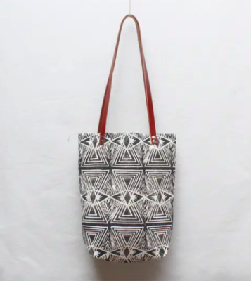 Optical Illusion Block Print Tote Bag