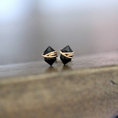 Black Agate Pike Stud Earrings - 14k Gold
