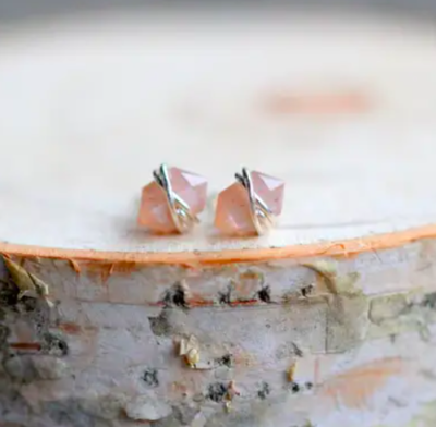 Peach Moonstone Pike Stud Earrings - Sterling Silver