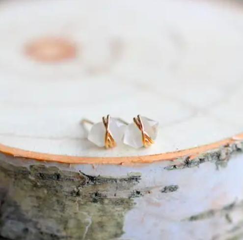 Moonstone Pike Stud Earrings - 14k Gold