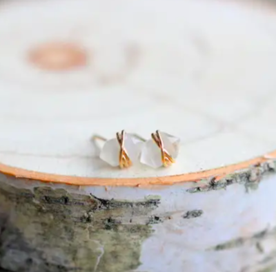 Moonstone Pike Stud Earrings - 14k Gold