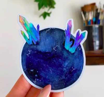 Blue Holographic Moon Sticker