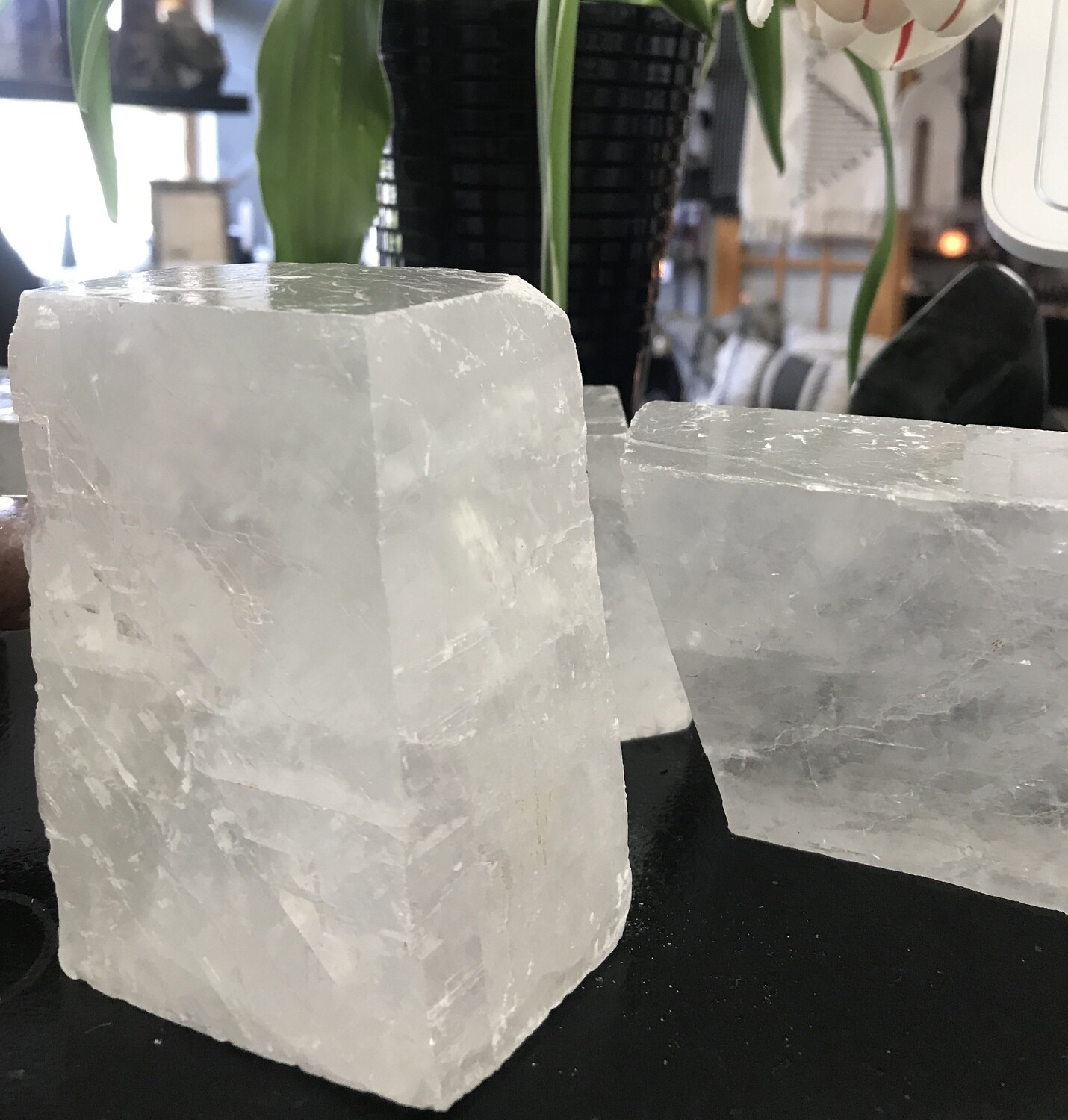 White Optical Calcite Cube (Large)