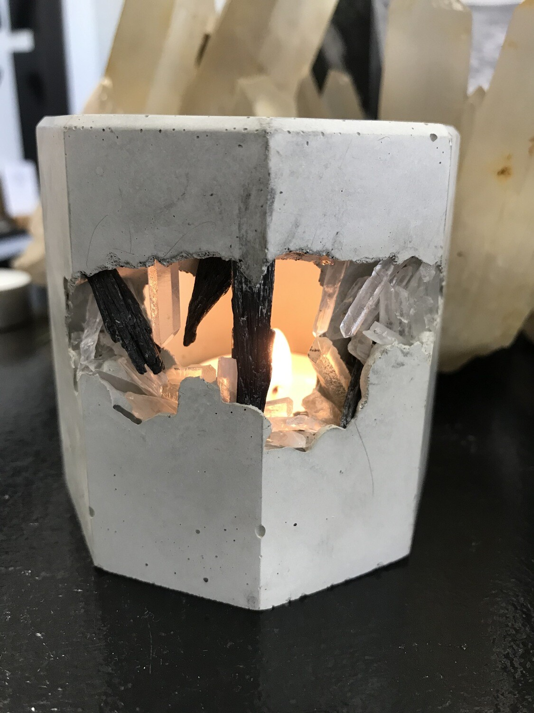 S|P Crystal Infused Concrete Votive Holder