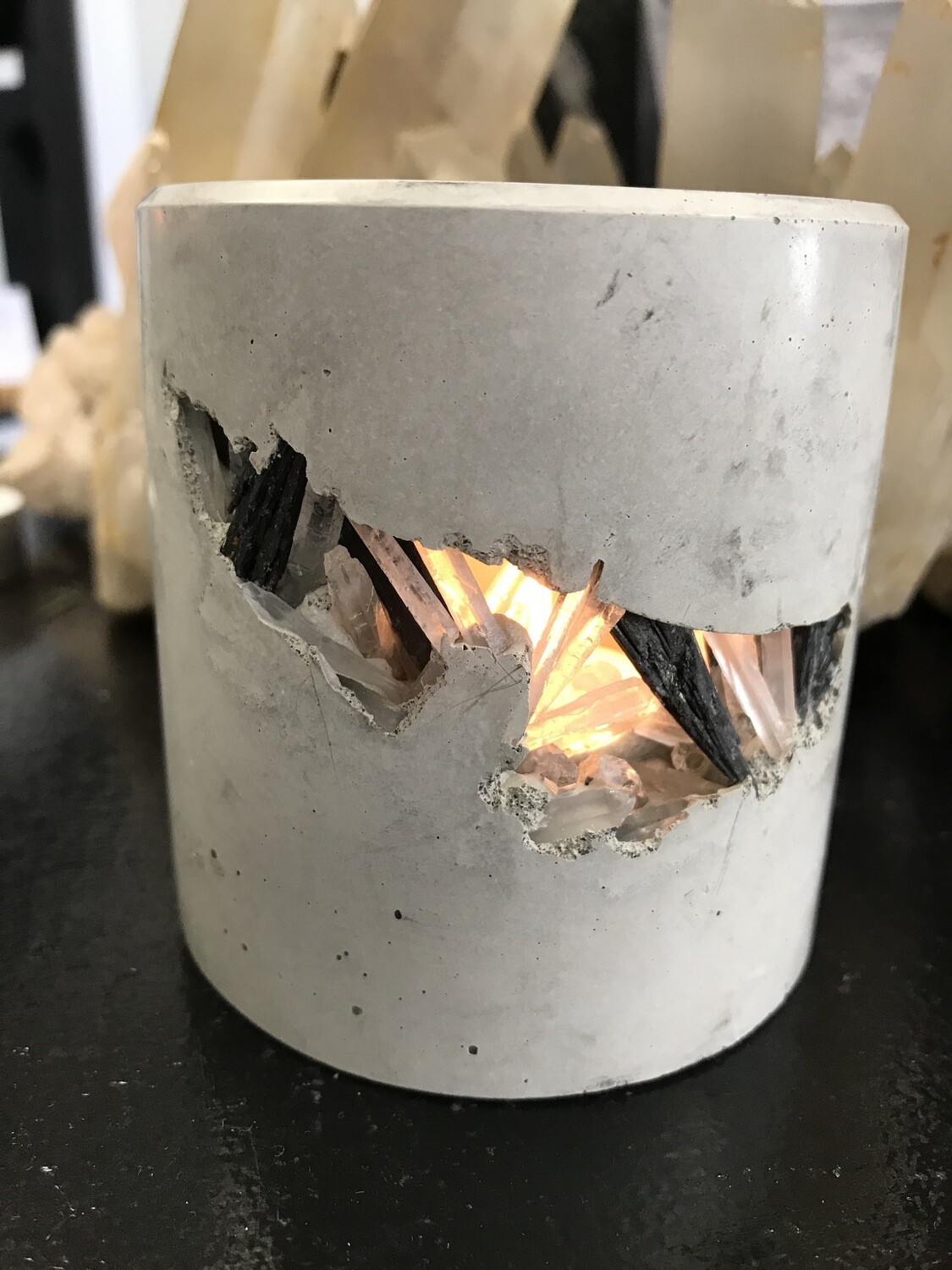 S|P Crystal Infused Concrete Votive Holder