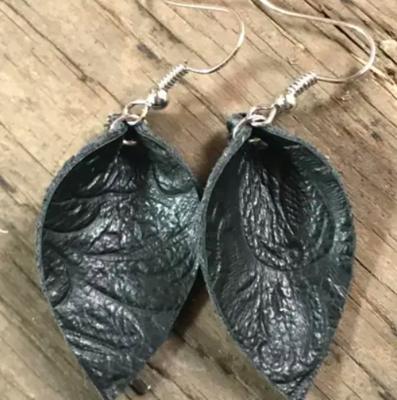 Black Embossed Leather Earrings