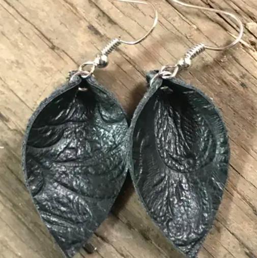 Black Embossed Leather Earrings - Medium