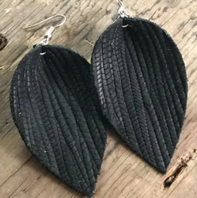 Black Palm Leaf Textured Leather Earring - Large