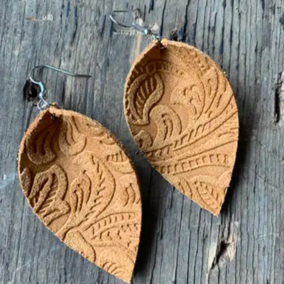 Tan Suede Floral Leather Earring