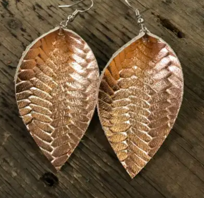 Rose Gold Braided Textured Leather Earring
