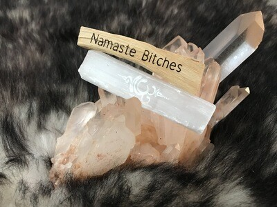 Namaste Bitches Palo Santo/Engraved Selenite Energy Cleansing Kit