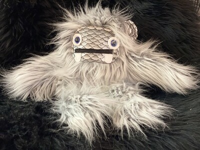 Crystal Infused Protective Snuggle Monster -Gray with Scale Face and ears