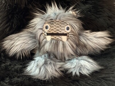 Crystal Infused Protective Snuggle Monster -Blue Gray with Silver Scale Face and ears