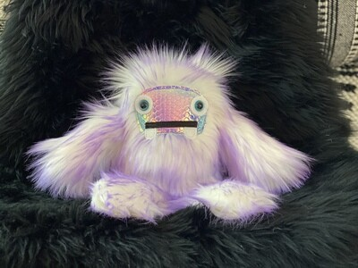 Crystal Infused Protective Snuggle Monster - Purple/White Holographic Face
