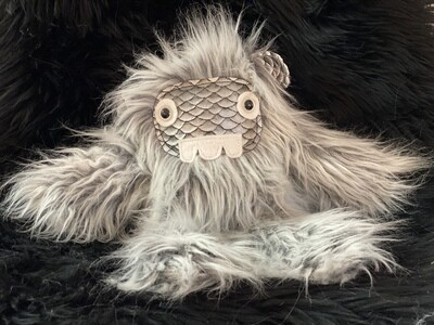 Crystal Infused Protective Snuggle Monster - Gray with Croc Face and 3 teeth