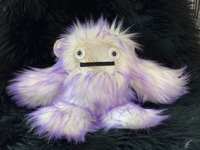 Crystal Infused Protective Snuggle Monster - Purple and White with silver croc face