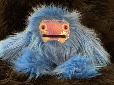 Crystal Infused Protective Snuggle Monster - Blue with holographic face