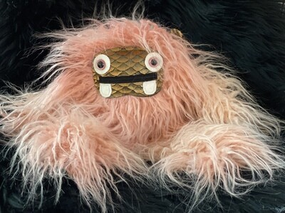 Crystal Infused Protective Snuggle Monster - Long Haired Pink with Copper Scale Face
