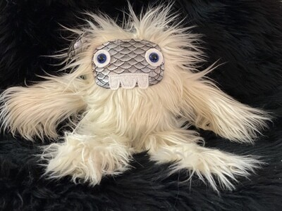 Crystal Infused Protective Snuggle Monster - White with Scale Face
