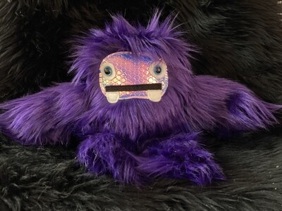 Crystal Infused Protective Snuggle Monster - Dark Purple with Holographic Face