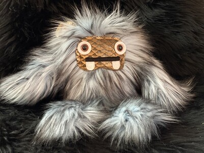 Crystal Infused Protective Snuggle Monster - Blue Gray with Copper Scale Face