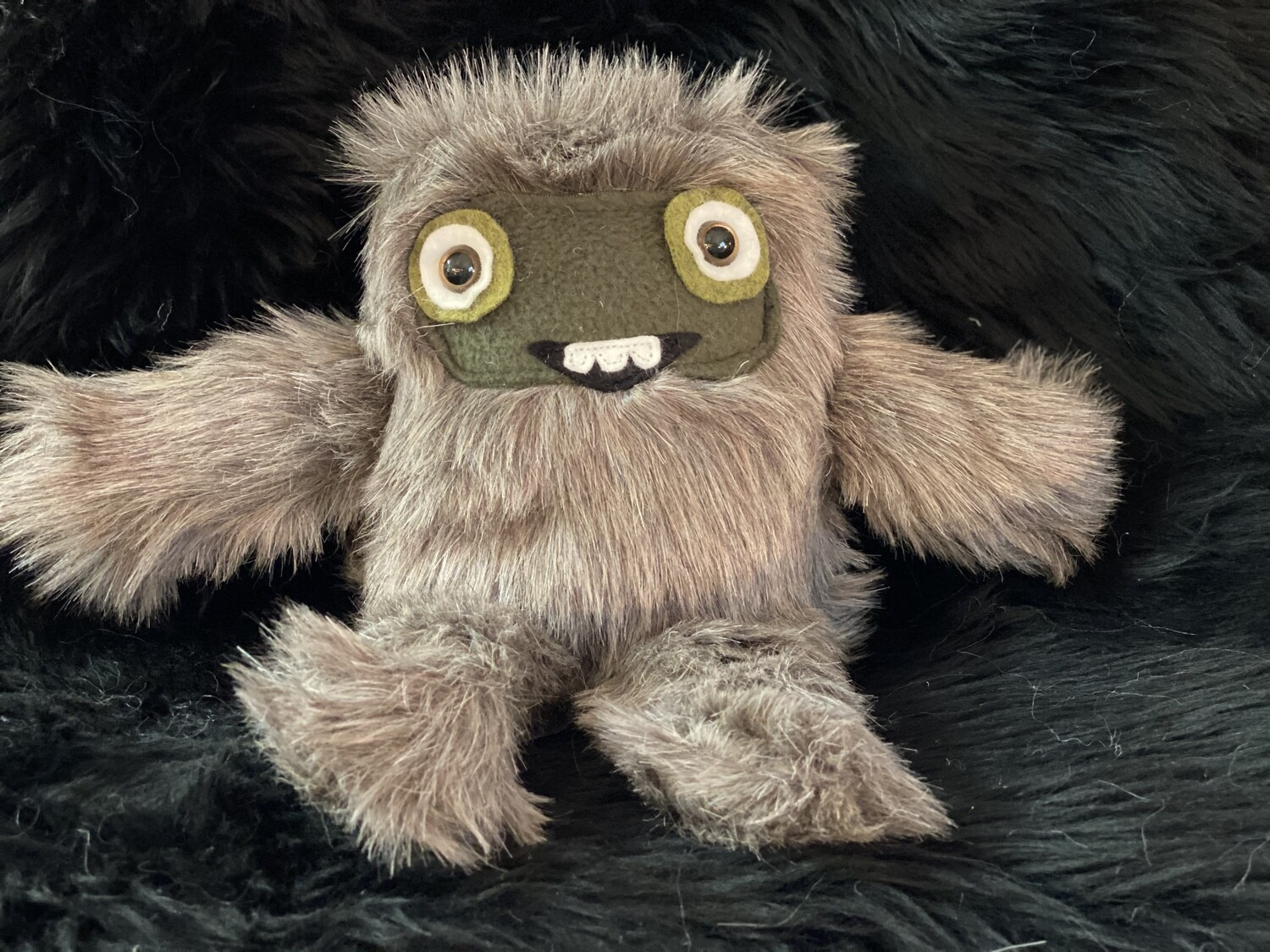 Crystal Infused Protective Snuggle Monster - Short Haired Gray with Green Felt Face