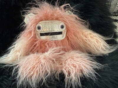 Crystal Infused Protective Snuggle Monster - Long Haired Pink with Croc Face