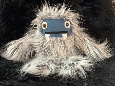 Crystal Infused Protective Snuggle Monster - Gray with Blue Felt Face