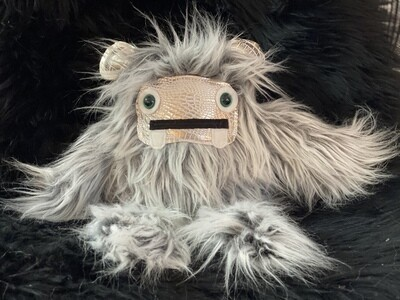 Crystal Infused Protective Snuggle Monster - Gray with croc face and ears