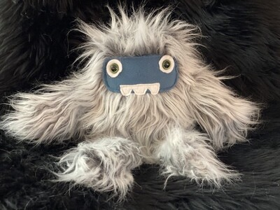Crystal Infused Protective Snuggle Monster -Gray with Blue Felt Face