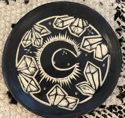 Crystal Moon Round Smudge Dish - Dry Creek Studio