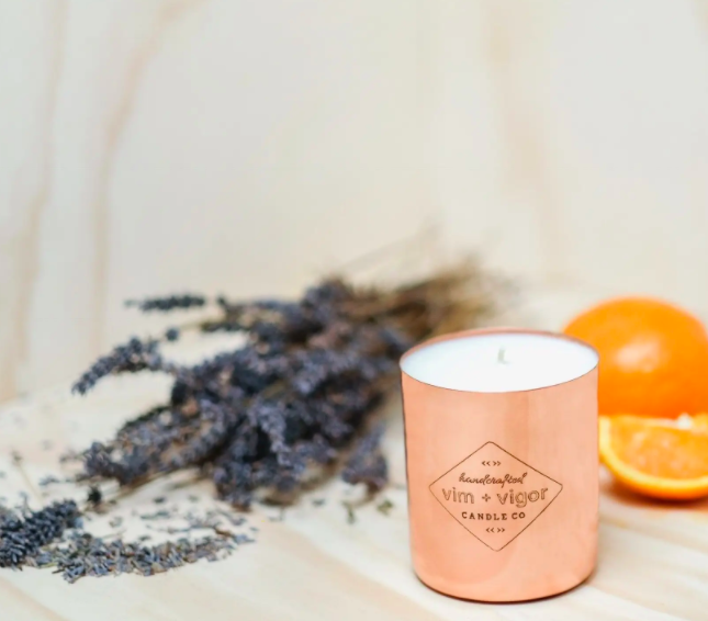 Blood Orange and Lavender Copper Candle