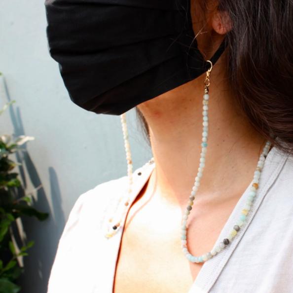 Gemstone Mask Chain - Rose Quartz