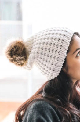Textured Beanie With Pom Pom - Ivory