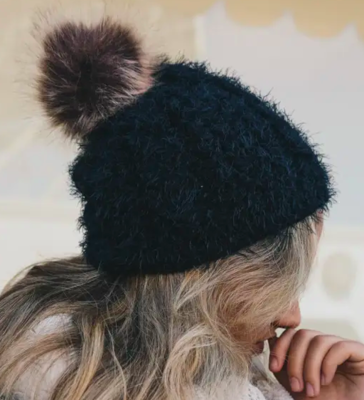 Faux Mohair Cable Knit Pom Pom Beanie - Black