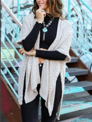 Oatmeal Braided Lounge Sweater