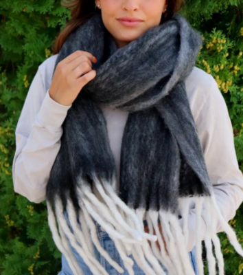 Super Soft Black/Gray Scarf with Fringe