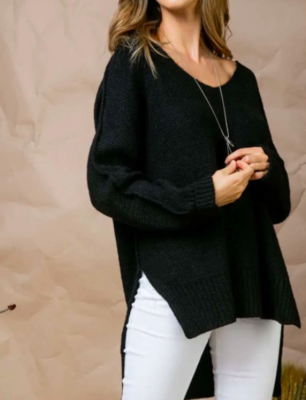 Hi/Lo Oversized Sweater - Black