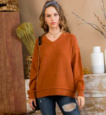 V Neck Long Sleeve Seam Detail Sweater - RUST