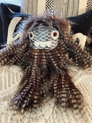 Crystal Infused Protective Snuggle Monster - Long Brown Hair/three teeth/silver scale face