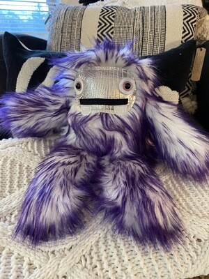 Crystal Infused Protective Snuggle Monster - Purple and White/silver croc face