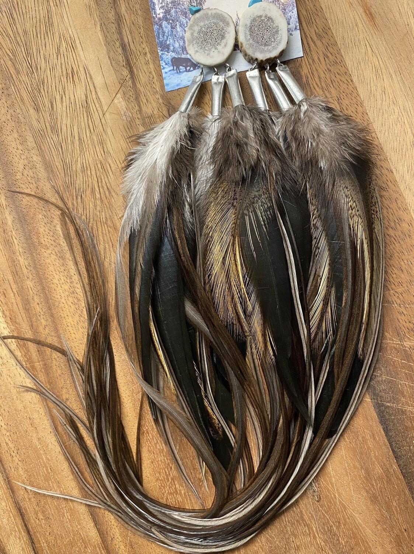Ursa Major Antler and Feather Earrings