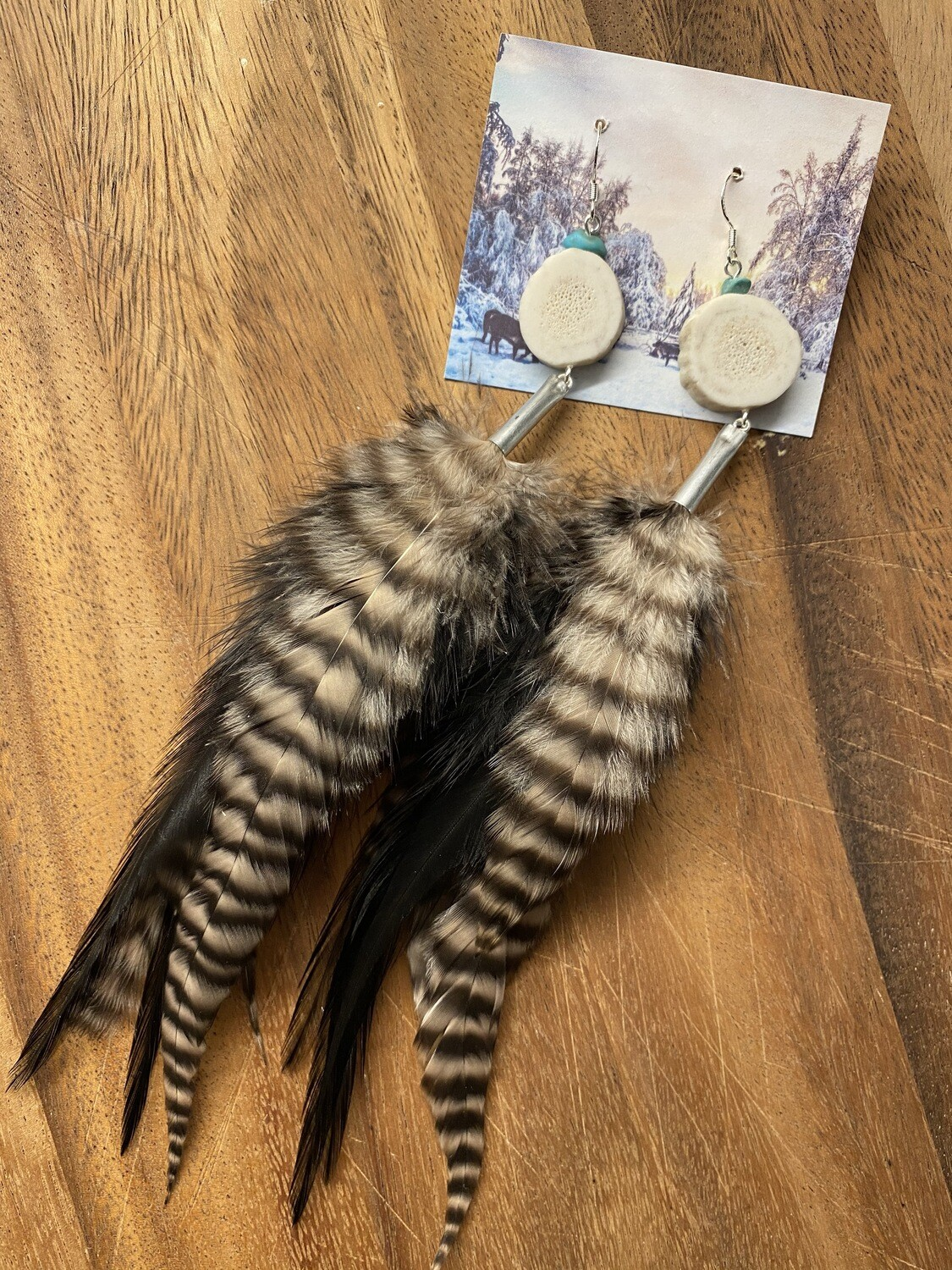 Ursa Minor Antler and Feather Earrings