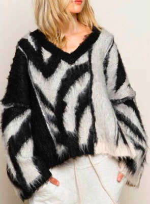 Oversized Cream and Black Zebra Vneck Sweater