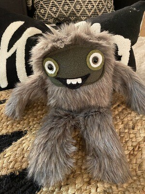 Crystal Infused Protective Snuggle Monster -Short Gray Fur/green felt face/smile