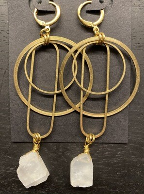 Geometric Brass Earrings with Raw Rainbow Moonstone