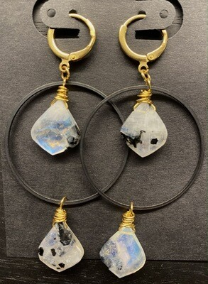 Rainbow Moonstone and Black Brass Earrings