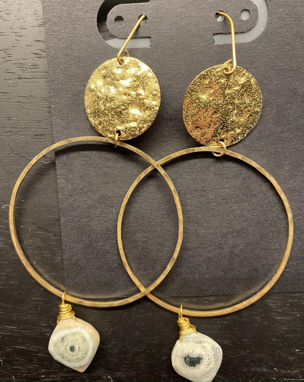 Hammered Brass Earrings with Solar Quartz