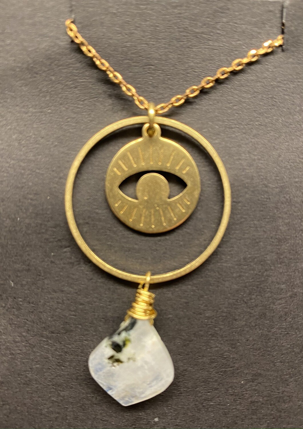 Rainbow moonstone and brass eye necklace