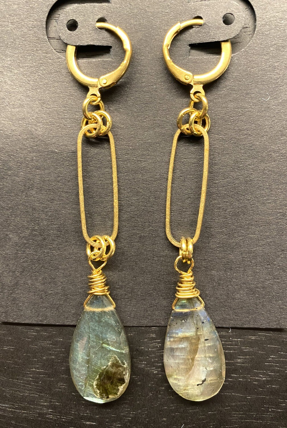 Faceted Labradorite and Brass Drop Earrings